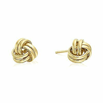 14K Yellow Gold Polished Love Knot Stud Earrings   7Mm