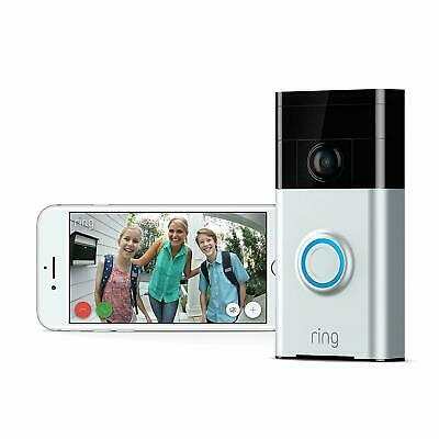 Ring Video Doorbell Wi-Fi Enabled HD Camera Amazon Alexa Satin Nickel New