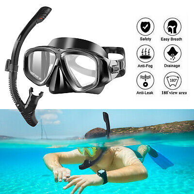 Half Face Snorkel Mask Scuba Diving Free Breath Underwater Anti Fog Dry (Water Sports Goggles)