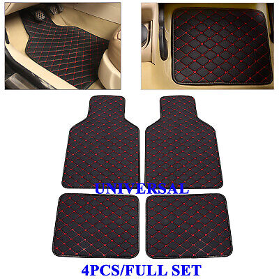 4PCS Universal Car Floor Mats Waterproof Liners Carpets Black+Red Line Leather