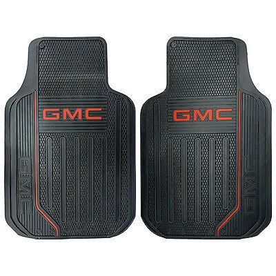 2PC GMC ELITE LOGO FRONT BLACK RUBBER FLOOR MATS SET FOR TRUCKS SUVS MADE IN USA