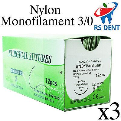 3 Dental Nylon Suture 30 For Medical Laboratory Teaching Student Practice 12pcs
