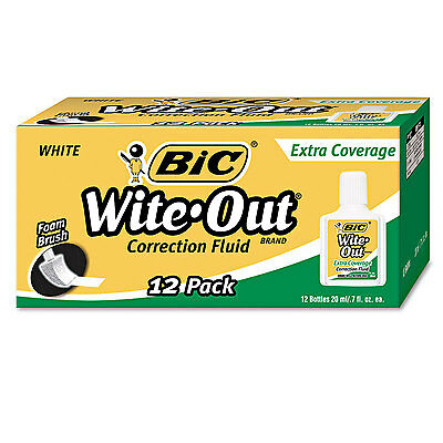 Bic Wite-out Extra Coverage Correction Fluid 20 Ml Bottle White 1dozen