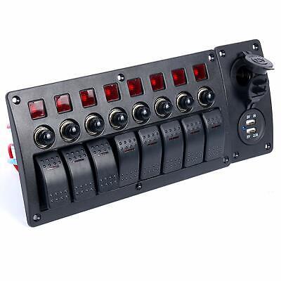 8 Gang Waterproof Marine Boat Rv Led Rocker Switch Panel With Circuit Breaker Us