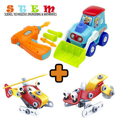 Kids Take Apart STEM Toys Set Construction Truck Electric Drill Airplane Gift