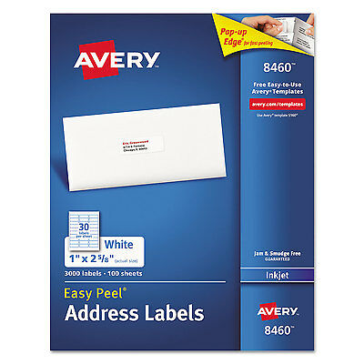 Avery Easy Peel Mailing Address Labels Inkjet 1 X 2 58 White 3000box 8460