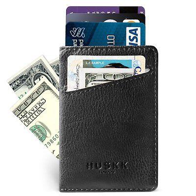 Slim RFID Wallets for Men Leather - Front Pocket Card Holder Sleeve Blocking