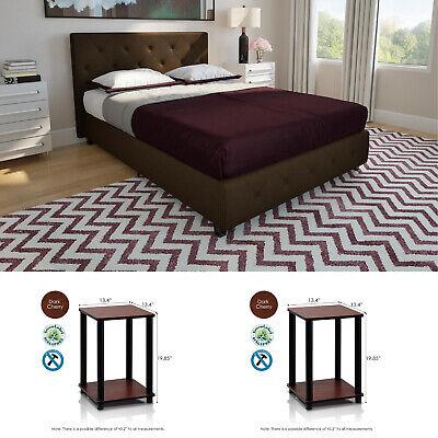 3 Piece Full Size Bedroom Set Furniture Modern Platform Bed 2 Nightstands Brown