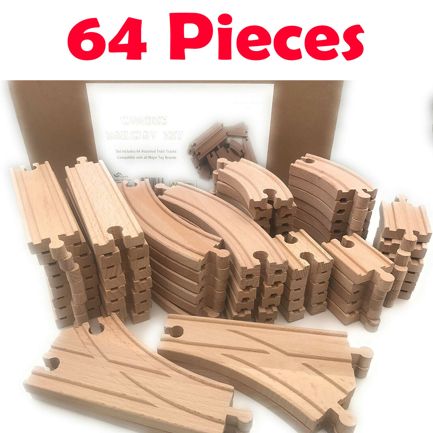 LOT of Wooden Train Brio Compatible Assorted Track Wood Pieces Kid Toys New TEHK