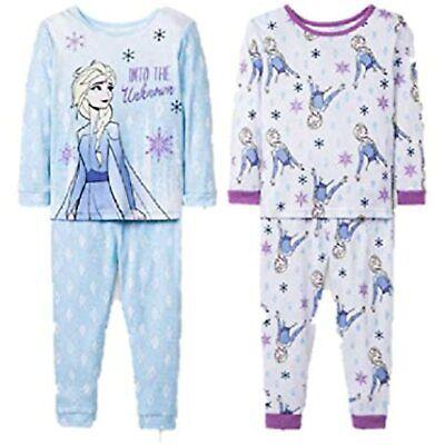 Frozen II Into The Unknown Toddler Girls Elsa Anna 4pc Pajama Set Size 5T White