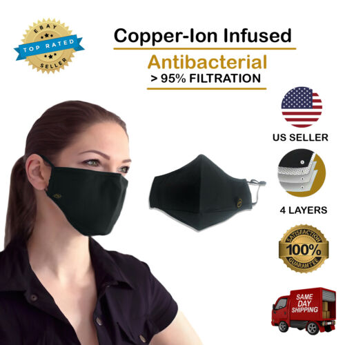 Copper Ion Infused Face Mask with 4 Layers of Filtration - 1 pack