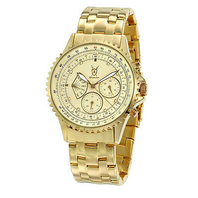 Mens Multifunction Gold Watch Stainless Steel Bracelet DAY DATE Reloj de Hombres - Mens Multifunction Bracelet Watch