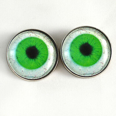 Intense Green Human Sew On Glass Eyes 30mm Buttons with Loop for Crocheted Doll Stuffed Animal Soft Sculptures or Jewelry Making Crafts Set of 2