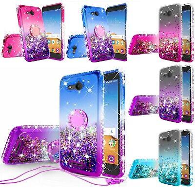 For Alcatel Tetra 5041C Liquid Glitter Diamond Bling Ring Stand Phone Case -