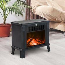Chimenea Eléctrica tipo Estufa Calefactor de Leña 600W/1200W 34.5x17x31cm Negro
