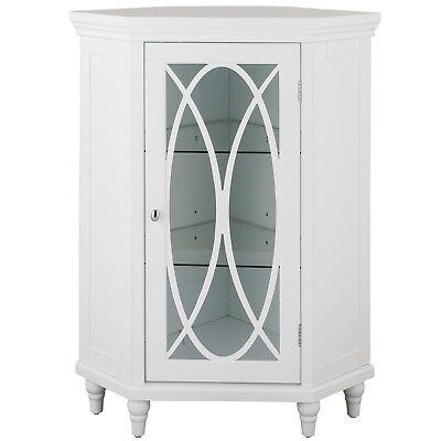 Florence Corner Floor Cabinet with Glass Door in White for Bathroom Storage