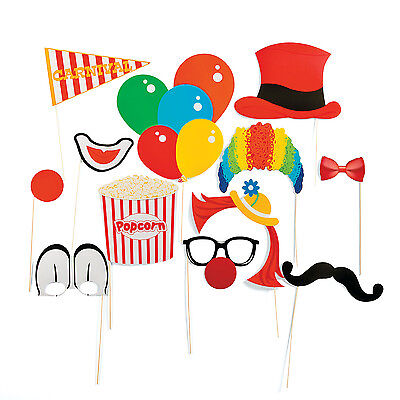 12 Carnival Photo Booth Props BIRTHDAY CIRCUS BIG TOP BALLOONS CLOWN party favor