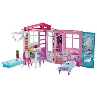 Barbie Portable 1-Story Playset Dollhouse with Pool, Furniture and Accessories