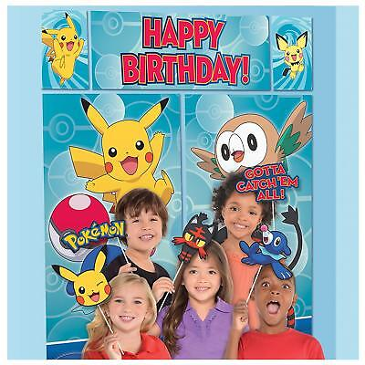 POKEMON WALL BANNER DECORATING KIT (5pc) Happy Birthday Party Supplies w/ props - Pokemon Party Supplies