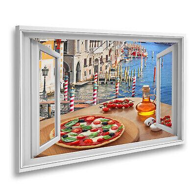 Bild auf Leinwand Fensterblick Klassische italienische Pizza in Venedig gegen Ka