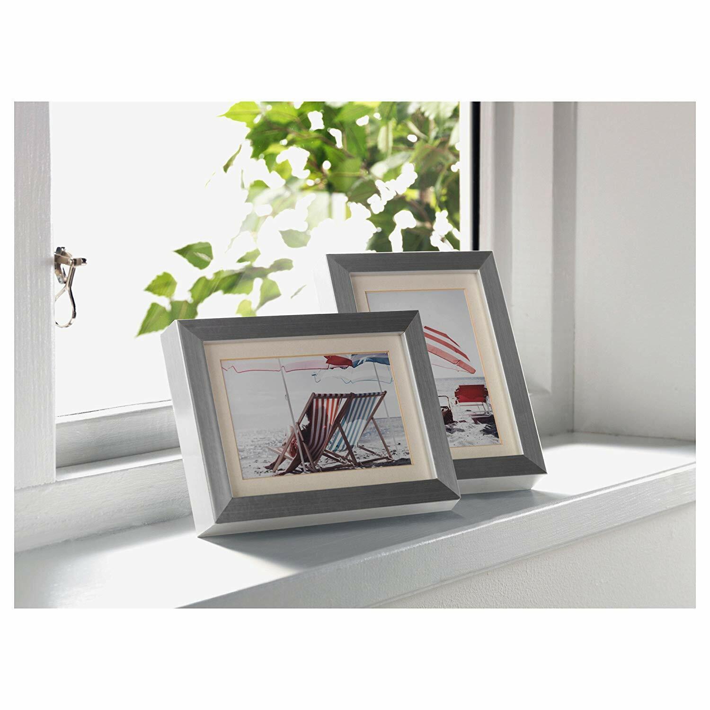 "Set of 2 - Ikea Ribba Picture Frame 5"" x 7"" / 4"" x 6"" Alumin"