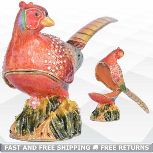 Pheasant Bird Hinged Jewelry Trinket Box W/ Lid Enamel Jeweled Crystals Ornament