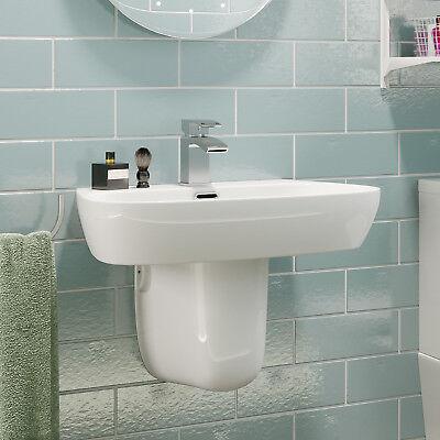 Modern Bathroom Basin Sink Single Tap Hole Semi Pedestal Wall Hung White Ceramic