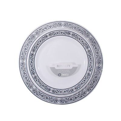 Party Disposable Plastic Plates Silver Border Wedding Dinner Plates - 40 Count](Silver Plastic Dinner Plates)