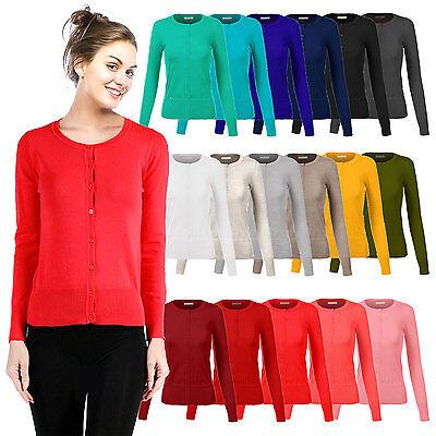 Womens Long Sleeve Button Down Crew Neck Hacci Cardigan Sweater-N8383(SIze:S-3X) Crew Long Sleeve Cardigan