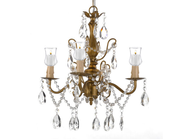 Iron & Crystal Gold Chandelier Lighting W/ Can