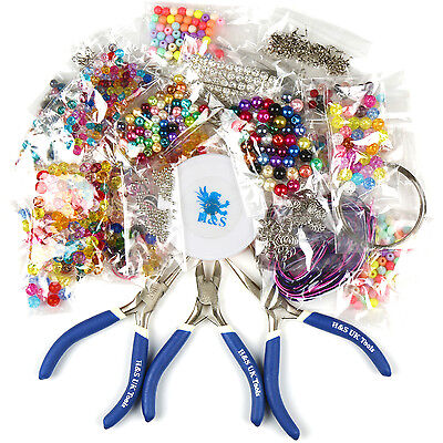 Large Jewellery Making Kit Starter Tool Pliers Set Silver Beads Findings Threads ()