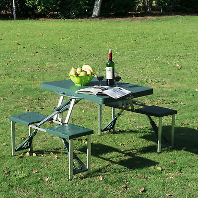 Deep Green Outdoor Aluminum Portable Folding Camping Picnic Table Case 4 Seats ()