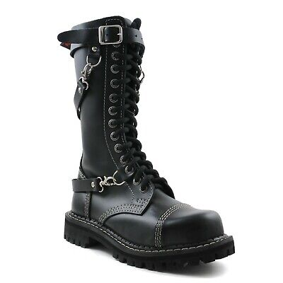 Angry Itch Combat Boots Black Leather 14 Eyelets Buckles Steel Toe Punk Army 14 Eyelet Steel Toe Boot
