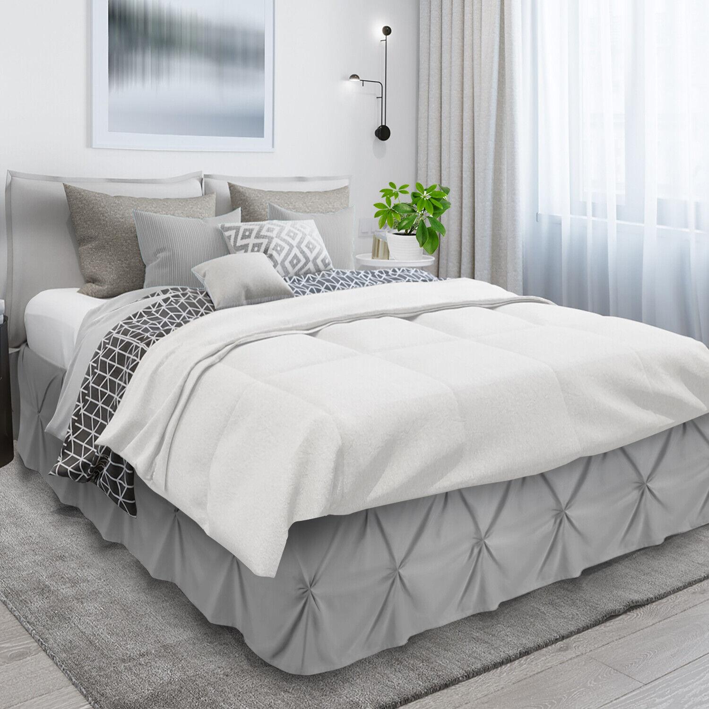 "Pinch Pleat Bed Skirt Premium Luxury Dust Ruffle 14"" Drop Ho"