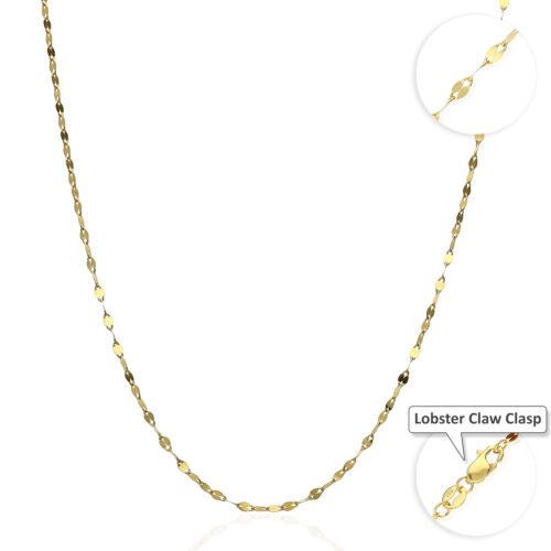 """Solid 10K Yellow Gold 2mm Diamond Cut Italian Mirror Link Chain Necklace 16""""-24"""""""