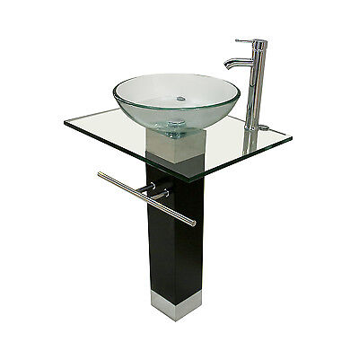 Modern Bathroom Pedestal Clear Tempered Glass Vessel Sink Vanity Faucet Combo