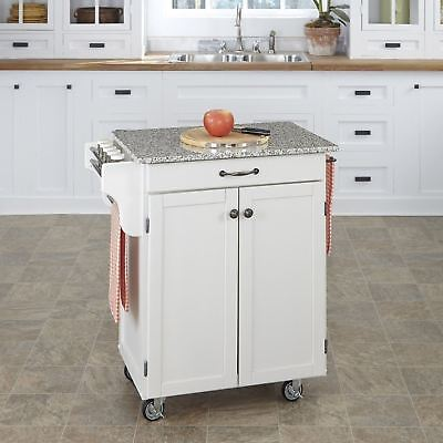 White Granite Top Kitchen Cart Island Rolling Storage Table Utility (Granite Top Storage)