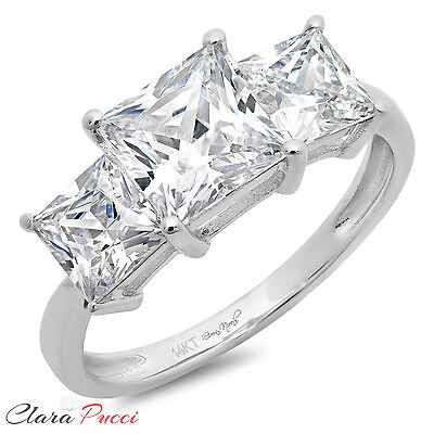 3.0 CT Three Stone Princess Cut Ring Engagement Wedding Band 14K White Gold