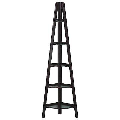 مكتبة كتب جديد Casual Home 5 Shelf Corner Ladder Bookcase In Espresso Finish 176-33U New