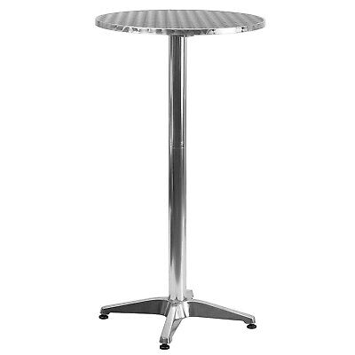 Bar Height Folding Table Outdoor Indoor Bistro Patio Round Stainless Steel Top