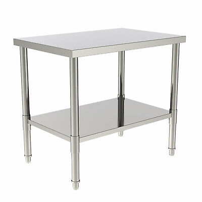 2 Layer Stainless Steel 24 X 36 Commercial Kitchen Prep Work Table Heavy Duty