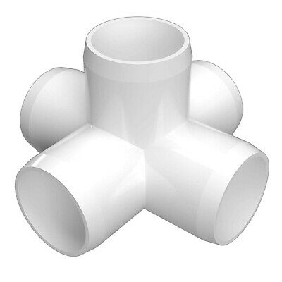 Pvc Fitting 1 Inch 5-way Cross Furniture Grade 1 Size White Pack Of 4 Standard