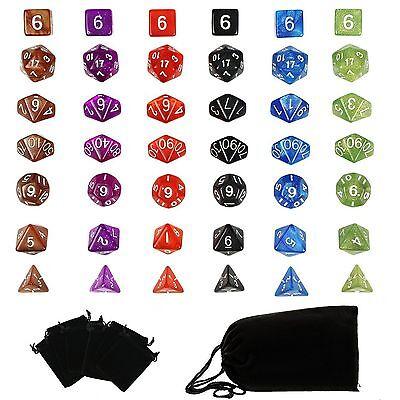 6 Sets Polyhedral Dungeon & Dragon RPG Games Dice 4D 6D 8D 10D 12D 20D