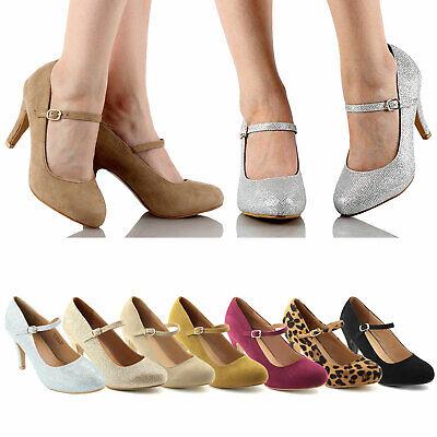Women's Glitter High Stiletto Heel Buckle Closure Almond Toe Mary Jane Pumps