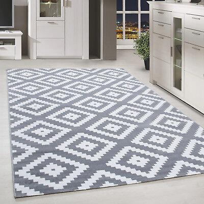 Chinesische Teppich (Moderner Kurzflor Teppich Karo geometrisch Grau Weiss Meliert Wohnzimmer)