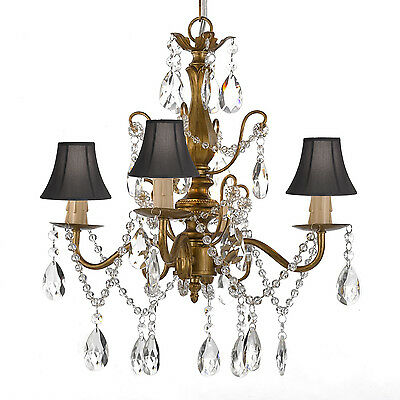 Wrought Iron & Crystal Gold Chandelier Pendant with Shades Hardwire & Plug In ()