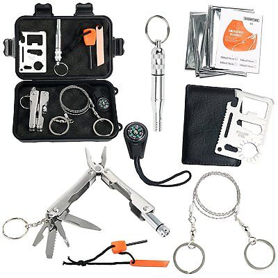 【CA Ships】Survival Kit, Outdoor Emergency Gear Kit for Camping Hiking Travelling