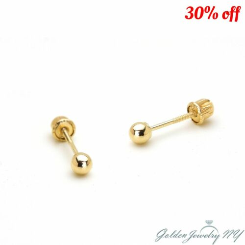 14K PURE 100% Real Yellow Gold Ball Stud Earrings with Screw Back 2MM - 7MM
