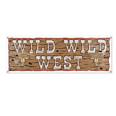 WILD WILD WEST Western Cowboy  Banner Sign Birthday party decoration](Cowboys Birthday)