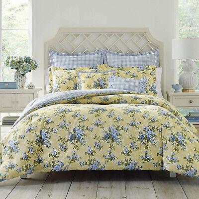 100% Cotton Classic Garden Yellow Blue Roses 7 pcs King Queen Comforter Set  New Garden Queen Comforter